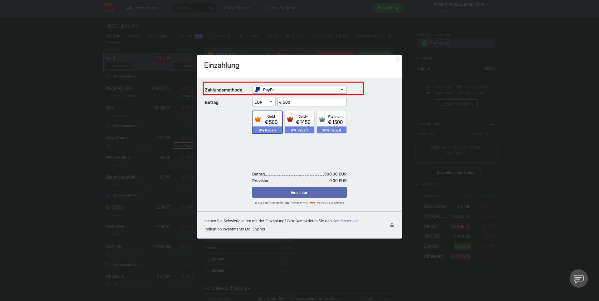 Libertex Paypal Einzahlung