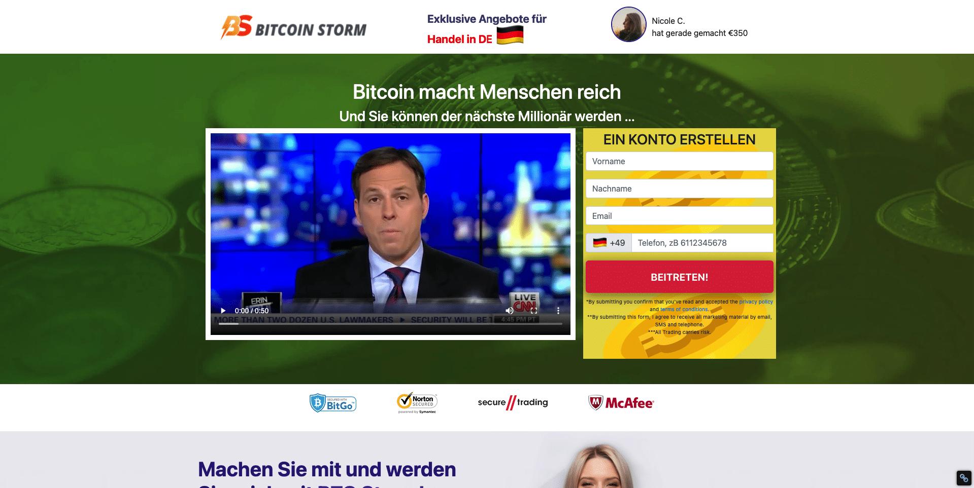 Bitcoin Storm Webseite