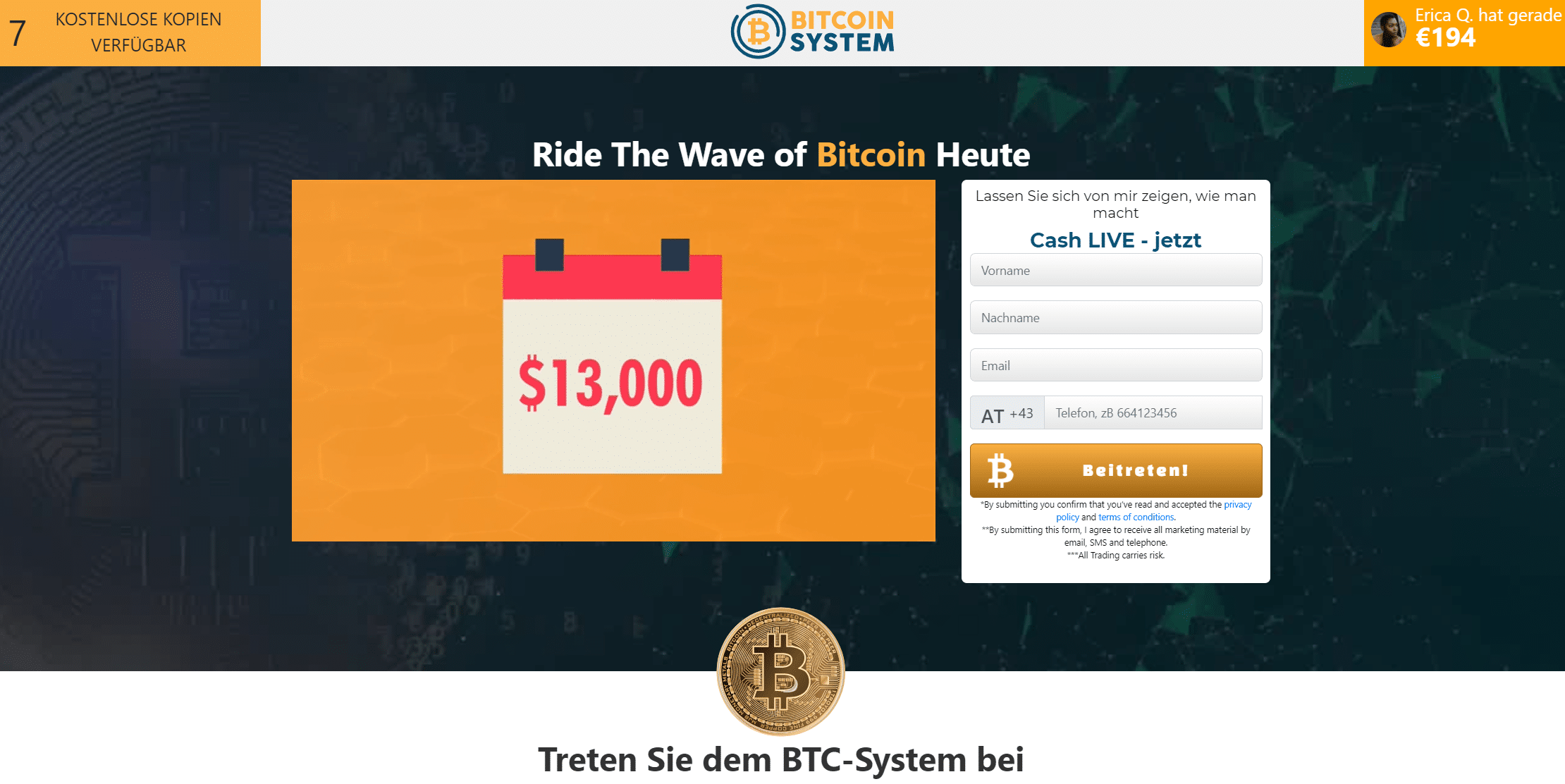 Bitcoin System Webseite