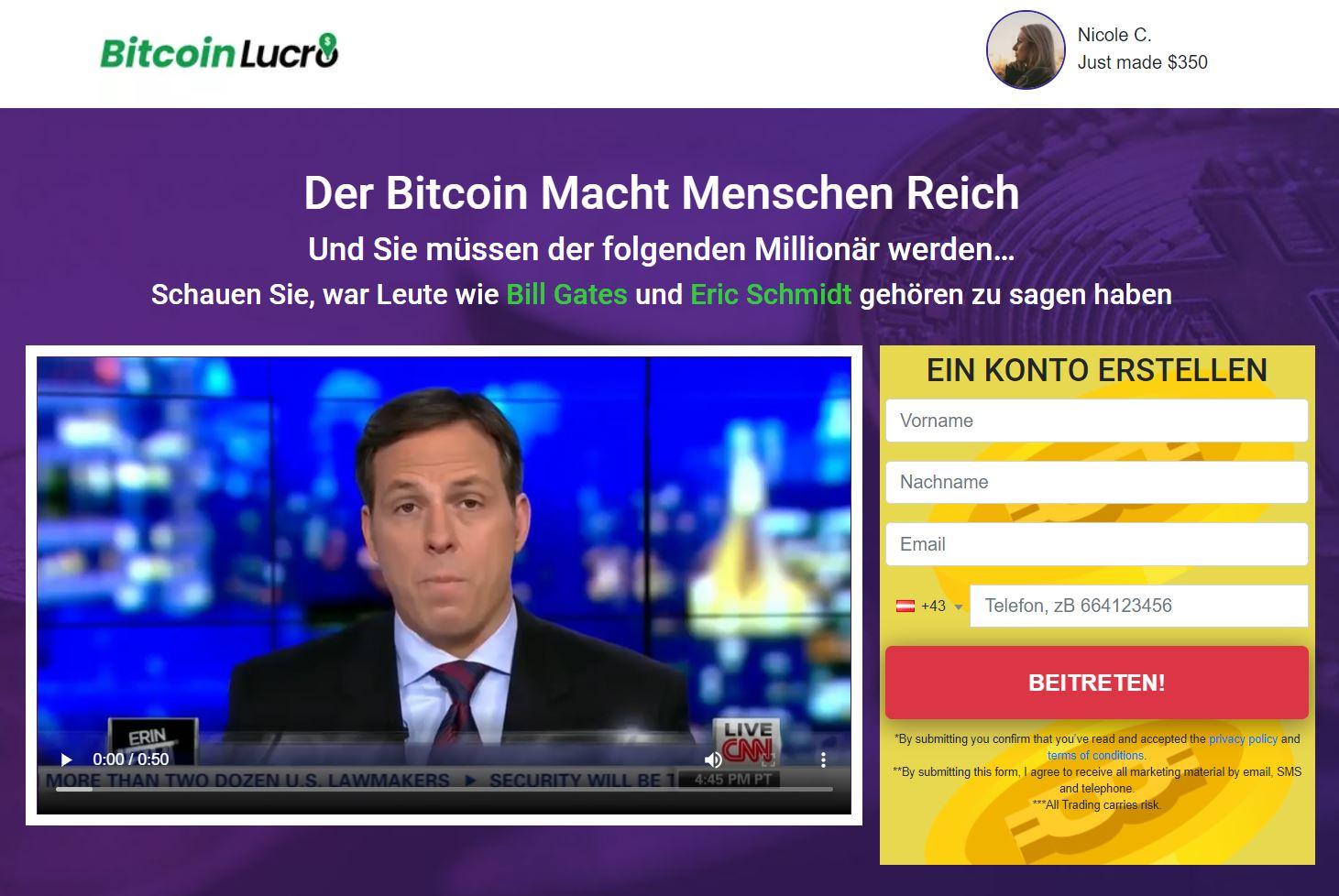Bitcoin Lucro Webseite