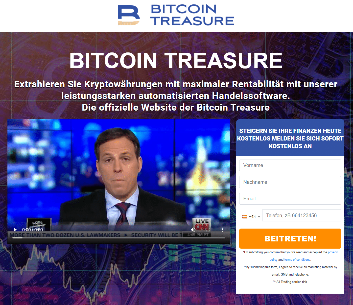 Bitcoin Treasure Webseite