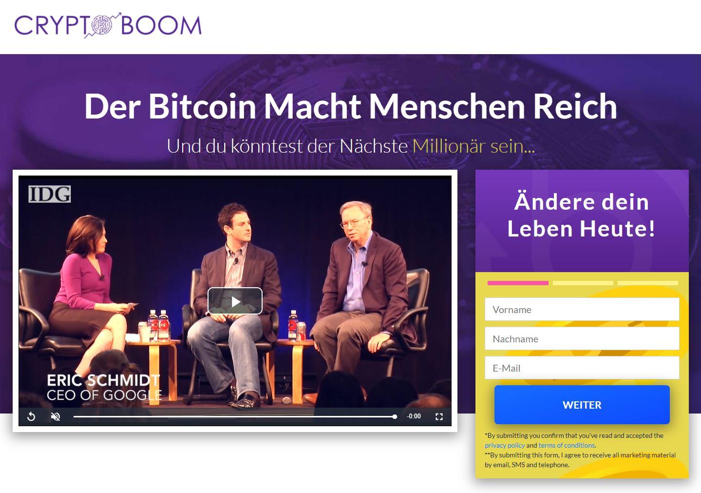 Crypto Boom Webseite